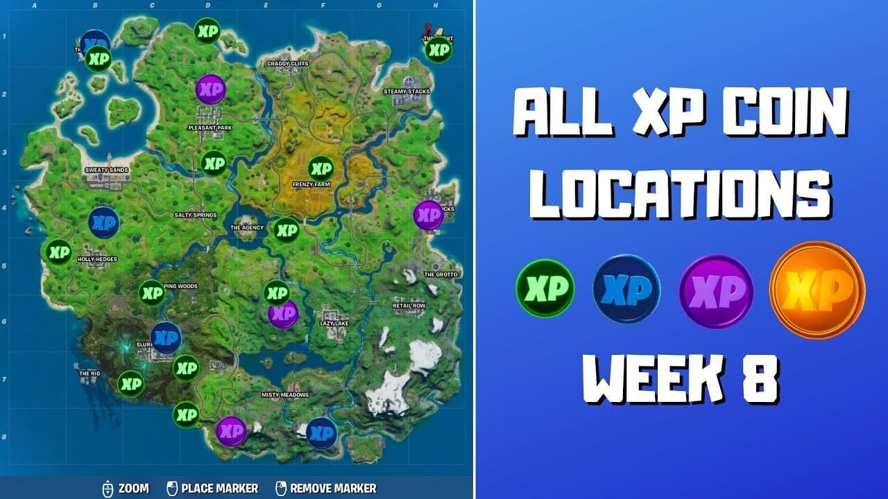 Fortnite – All 10 Golden XP Coin Locations in Week 8